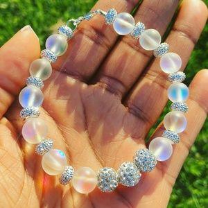 Synthetic Opal & Swarovski Crystal Bead Bracelet